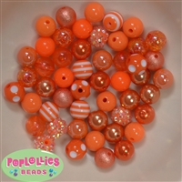 12mm Mixed Style Orange Acrylic Beads sold in packages of 50 beads