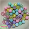 12mm Mixed Style Pastel Acrylic Beads sold in packages of 50 beads