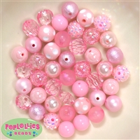 12mm Mixed Style Pink Acrylic Beads 50pc