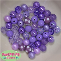 12mm Mixed Style Lavender Acrylic Beads 50pc