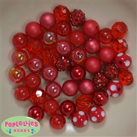 12mm Mixed Style Red Acrylic Beads 50pc