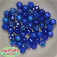 12mm Mixed Style Royal Blue Acrylic Beads 50pc