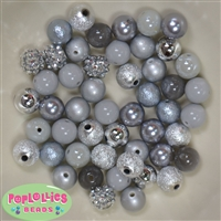 12mm Mixed Style Silver and Gray Acrylic Beads sold in packages of 50 beads