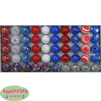 12mm Mixed Style Patriotic Acrylic Beads sold in packages of 50 beads