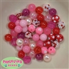 12mm Mixed Style Valentine Acrylic Beads sold in packages of 50 beads