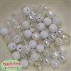 12mm Mixed Style White Acrylic Beads sold in packages of 50 beads