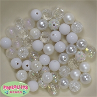 12mm Mixed Style White Acrylic Beads 50pc