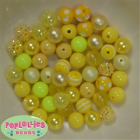 12mm Mixed Style Yellow Acrylic Beads 50pc