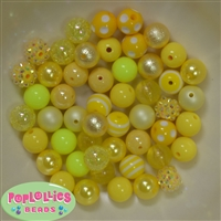 12mm Mixed Style Yellow Faux Pearl Beads sold in packages of 50 beads