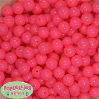 12mm Neon Pink Acrylic Bubblegum Beads sold in packages of 50 beads
