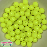 12mm Neon Yellow Acrylic Bubblegum Beads sold in packages of 50 beads