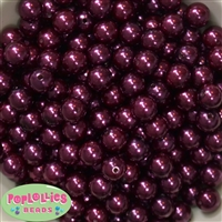 12mm Burgundy Faux Pearl Beads