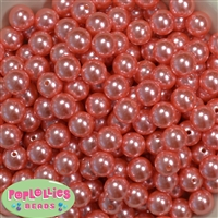 12mm Coral Faux Pearl Beads sold in packages of 50 beads