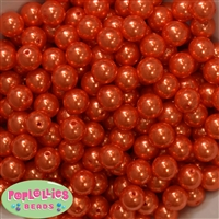 12mm Deep Orange Faux Pearl Beads sold in packages of 50 beads