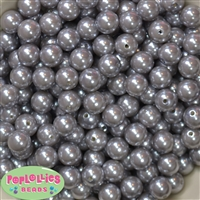 12mm Gray Acrylic Faux Pearl Beads 260pc