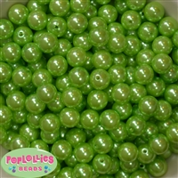 12mm Lime Green Faux Pearl Beads