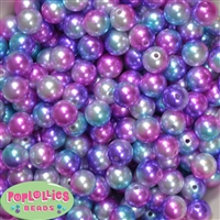 12mm Jewel Multi Color Faux Pearl Acrylic Bead  sold in packages of 40 beads