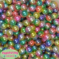 12mm Rainbow Faux Pearl Acrylic Bead Ombre  sold in packages of 40 beads