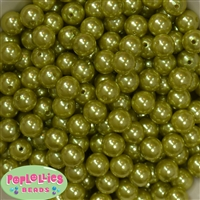 12mm Olive Green Faux Pearl Beads sold in packages of 50 beads