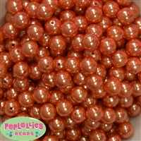 12mm Orange Faux Pearl Beads sold in packages of 50 beads