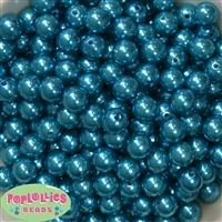 12mm Peacock Blue Faux Pearl Beads
