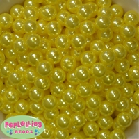 12mm Yellow Faux Pearl Beads