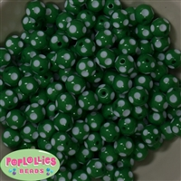 12mm Green Polka Dot Bubblegum Beads sold in packages of 50 beads