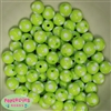 12mm Lime Green Polka Dot Bubblegum Beads sold in packages of 50 beads