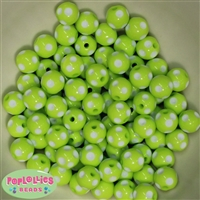 12mm Lime Green Polka Dot Beads