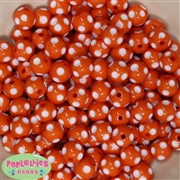 12mm Orange Polka Dot Bubblegum Beads sold in packages of 50 beads