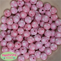 12mm Pink Polka Dot Bubblegum Beads sold in packages of 50 beads