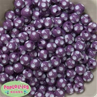 12mm Purple Polka Dot Bubblegum Beads sold in packages of 50 beads