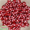 12mm Red Polka Dot Bubblegum Beads sold in packages of 50 beads