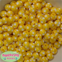 12mm Yellow Polka Dot Bubblegum Beads sold in packages of 50 beads