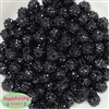 12mm Black Rhinestone Bubblegum Beads