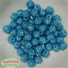 12mm Blue Rhinestone Bubblegum Beads