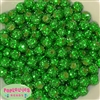12mm Christmas Green Rhinestone Bubblegum Beads