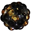 12mm Black and Gold Confetti Rhinestone Bubblegum Beads