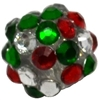 12mm Christmas Confetti Rhinestone Bubblegum Beads