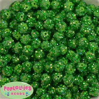 12mm Green Confetti Rhinestone Bubblegum Beads