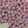 12mm Unicorn Confetti Rhinestone Bubblegum Beads