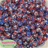 12mm Patriotic Confetti Rhinestone Bubblegum Beads