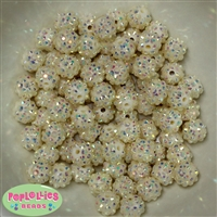 12mm Cream Rhinestone Bubblegum Beads