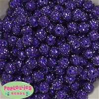 12mm Deep Purple Rhinestone Beads 40 pc