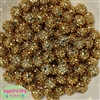 12mm Metallic Gold Rhinestone Bubblegum Beads