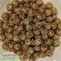 12mm Gold Rhinestone Beads 40 pc