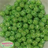 12mm Lime Rhinestone Beads 40 pc