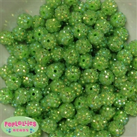 12mm Lime Green Rhinestone Bubblegum Beads