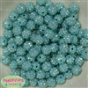 12mm Mint Rhinestone Bubblegum Beads