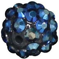 12mm Navy Blue Rhinestone Bubblegum Beads